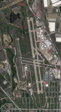 Fort Worth Meacham International Airport (FTW) - Spotting map for Fort Worth Meacham Field. The red letters indicate places that you can see action around the airfield.  - by Zane Adams