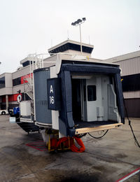 Hartsfield - Jackson Atlanta International Airport (ATL) - Passenger loading ramp Gate A-16 pulled back, ready for departure.  Atlanta - by Ronald Barker