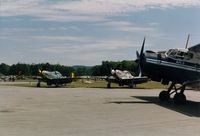 Sussex Airport (FWN) - A pair of North American P51-D Mustangs and an 1970 Antonov AN-2 at the 1993 Sussex Air Show, Sussex, NJ  - by scotch-canadian