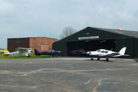Sturgate Airfield Airport, Lincoln, England United Kingdom (EGCS) - Lincoln Flying Club hangar at Stugate - by Chris Hall