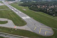 Stockholm-Bromma Airport - Runway 12/30 at Bromma seen from Eastair Robinson R44 SE-JOE. - by Backa Erik Eriksson
