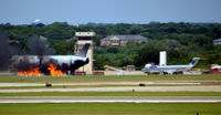 Dallas/fort Worth International Airport (DFW) - A380 fire trainer and DC-9 at DFW - by Ronald Barker