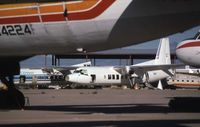 Tucson International Airport (TUS) - Fairchild F27 N4302F at Tucson Airport in April 1989 - by Peter Lea