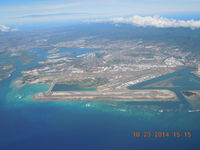 Honolulu International Airport, Honolulu, Hawaii United States (PHNL) - Overview of PHNL and Pearl Harbor looking north. - by John J. Boling