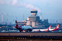 Tegel International Airport (closing in 2011), Berlin Germany (EDDT) - Running aircraft on rwy 26L, apron and tower in beautiful morning sun... - by Holger Zengler