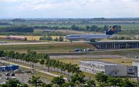 Leipzig/Halle Airport, Leipzig/Halle Germany (EDDP) - Western view from visitor´s terrace to inbound traffic on Autobahn rolling bridge.... - by Holger Zengler