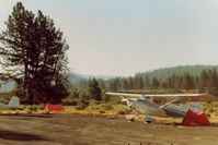 Chiloquin State Airport (2S7) - 68E at Chiloquin airport in Oregon on the second day of a flight to the east coast in 1989. - by S B J