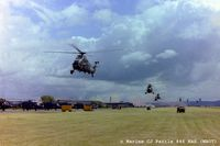 RNAS Yeovilton - Scanned from negative - RNAS Yeovilton EGDY during the 1979 Airshow 'Commando Assault' with Wessex of 707, 845 and 846 NAS displaying their skills. Lynx HAS.2 of 702 NAS line-up on left. - by Clive Pattle