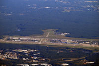 Raleigh-durham International Airport (RDU) - RDU as seen from the air after take off and heading west. - by Eric Olsen