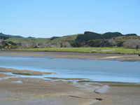 Raglan Aerodrome - View from across river. A grass strip. No based aircraft but gets regular visitors in summer. Annual fly in very popular. Public footpath crosses runway and easy for photos and parking available next to fence. - by magnaman