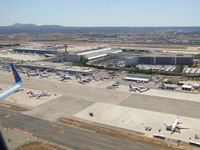 Palma de Mallorca Airport (or Son Sant Joan Airport) - one of aprons at Palma taken from Jet2 B757, G-LSAE on takeoff on way back to Manchester UK (EGCC) - by Jez-UK