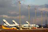 Leipzig/Halle Airport - Three big babies and a yellow aircraft in being on apron 3..... - by Holger Zengler