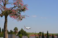 OR Tambo International Airport - Lufthansa B744 ariving in JNB seen from the Birchwood Hotel in Boksburg. - by FerryPNL
