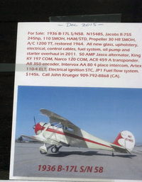 Santa Paula Airport (SZP) - Listing of 1936 Beech B17L STAGGERWING  FOR SALE. Call listed  owner. - by Doug Robertson