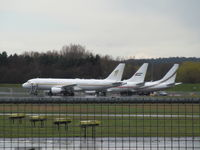 Farnborough Airfield - 3 x big biz - HZ-SKY3 airbus A320 nearest - by magnaman