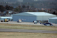 Aberdeen Airport, Aberdeen, Scotland United Kingdom (EGPD) - Bond Offshore Helicopters hangar and apron on east side Aberdeen EGPD - by Clive Pattle