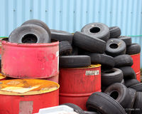 Dundee Airport, Dundee, Scotland United Kingdom (EGPN) - Looking tyred at Dundee Riverside EGPN - used aircraft tyres collection for recycling - by Clive Pattle