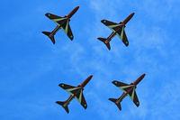 Swansea Airport, Swansea, Wales United Kingdom (EGFH) - Hawk T.1, x4 Red Arrows in the overhead whilst displaying at WNAS16. - by Derek Flewin