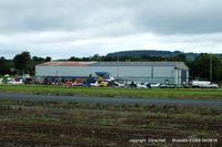 Shobdon Aerodrome - main hangar, club house and tower at Shobdon - by Chris Hall