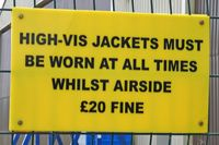Caernarfon Airport - Air side access gate notice. - by Derek Flewin