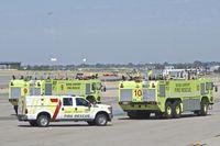 Boise Air Terminal/gowen Fld Airport (BOI) - ARFF units after a practice run. - by Gerald Howard