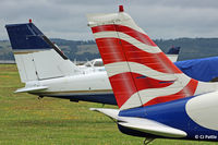 Dundee Airport, Dundee, Scotland United Kingdom (EGPN) - PA-28 tails at Dundee EGPN - by Clive Pattle