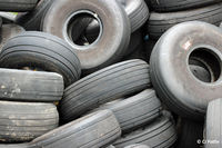 Dundee Airport, Dundee, Scotland United Kingdom (EGPN) - Looking tired at Dundee. A pile of discarded aircraft tyres await recycling at Dundee EGPN. - by Clive Pattle