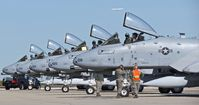 Boise Air Terminal/gowen Fld Airport (BOI) - Five A-10C from the 190th Fighter Sq., 124th Fighter Wing parked on the De arm pad getting final pre flight checks. - by Gerald Howard