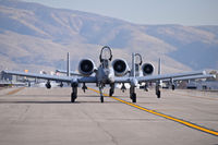 Boise Air Terminal/gowen Fld Airport (BOI) - Two A-10Cs from the 124th Fighter Wing, Idaho ANG taxiing down Foxtrot. - by Gerald Howard