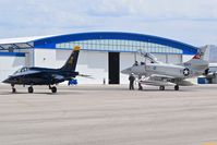 Boise Air Terminal/gowen Fld Airport (BOI) - Two warbirds parked on the north GA ramp. The blue Alpha Jet is hangared at BOI. The Skyhawk just stopping for gas. - by Gerald Howard