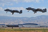 Boise Air Terminal/gowen Fld Airport (BOI) - A-10Cs in formation take off from RWY 28L. 190th Fighter Sq., 124th Fighter Wing, Idaho ANG. - by Gerald Howard