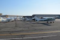 Boise Air Terminal/gowen Fld Airport (BOI) - Six back country aircraft parked on their ramp ready for the day's first flights. - by Gerald Howard