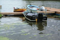 Vette/blust Seaplane Base (96WI) - The Bat Boat, a late 1950's Glasstron Firelite. - by Timothy Aanerud