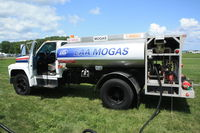Wittman Regional Airport (OSH) - MoGas $3.99/Gal.  The EAA owned, Basler operated MoGas fuel truck ran out of fuel while refueling N701GV - by Timothy Aanerud