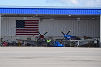 Boise Air Terminal/gowen Fld Airport (BOI) - Two Mustangs owned by Mustang High Flight LLC, Boise, Idaho seeing daylight after a long winter in the hangar. - by Gerald Howard