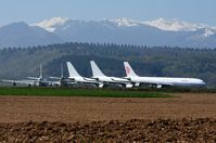 Tarbes - Tarbes Airport storage with the snow capped Pyrenees in the background - by FerryPNL