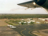 Bundaberg Airport - Low Res Overview Bundaberg Airport YBUD on take-off - Heading to Brisbane YBBN in Sunstate Airlines Short 360-300 VH-SUR (Cn 3728) on 25Apr2000. - by Walnaus47