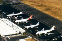 Brisbane International Airport - Airport Overview of 'Old Eagle Farm' International Airport YBBN, taken from Australian Airlines first A300B4-203 VH-TAA, on approach to 'New Eagle Farm' Airport on 12Aug1992.  - by Walnaus47