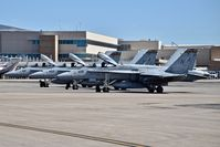 Boise Air Terminal/gowen Fld Airport (BOI) - Three F/A-18C aircraft from FMFA-323 Death Rattlers parked for re fueling. - by Gerald Howard